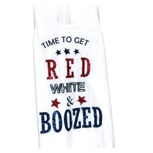 """Sofra Tops - """"Time to get Red, White & boozed"""" tank"""